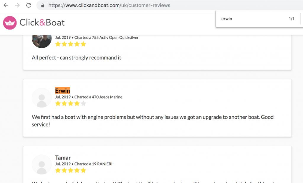 screenshot of click&boat reviews page